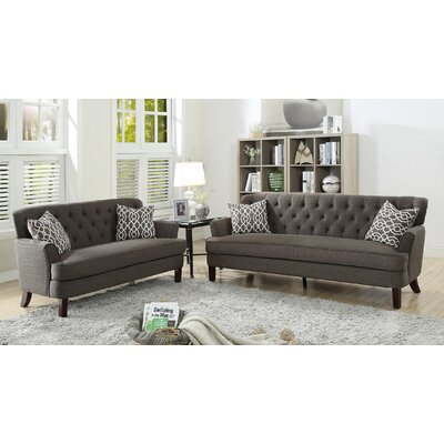 Metcalfe 2 Piece Living Room Set Upholstery: Ash Black