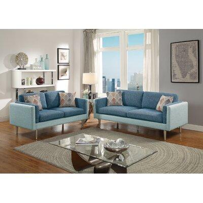 Benson 2 Piece Living Room Set Upholstery: Blue/Aqua