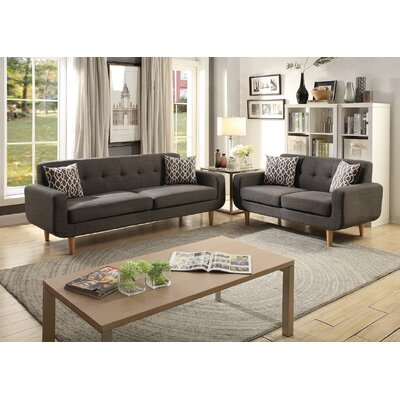 Waltman 2 Piece Living Room Set Upholstery: Ash Black