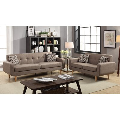Cowger 2 Piece Living Room Set Upholstery: Mocha