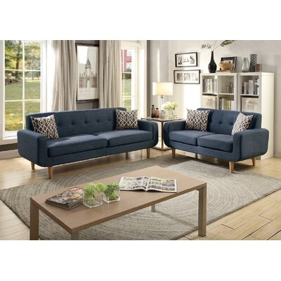 Waltman 2 Piece Living Room Set Upholstery: Dark Blue