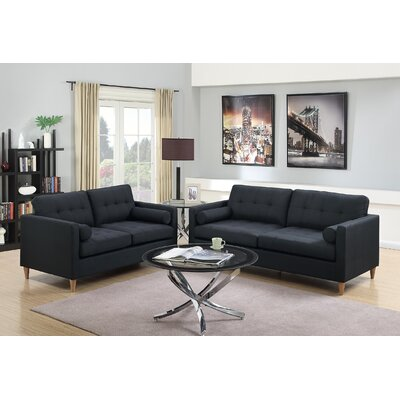 Cowell 2 Piece Living Room Set Upholstery: Black