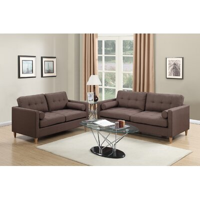 Cowell 2 Piece Living Room Set Upholstery: Chocolate