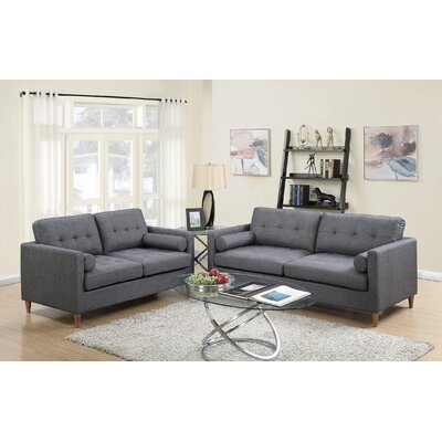 Cowell 2 Piece Living Room Set Upholstery: Blue Gray