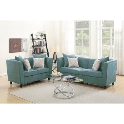 Raymo 2 Piece Living Room Set Upholstery: Hydra blue