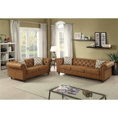 Lamonica 2 Piece Living Room Set Upholstery: Camel