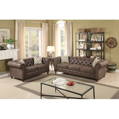 Lamonica 2 Piece Living Room Set Upholstery: Dark Coffee