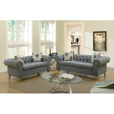 Chrystal 2 Piece Living Room Set Upholstery: Ash Black
