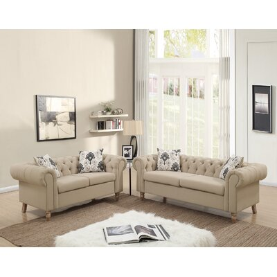 Chrystal 2 Piece Living Room Set Upholstery: Sand