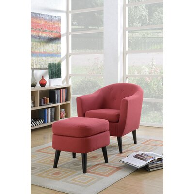 Fosbury Barrel Chair and Ottoman Upholstery: Red