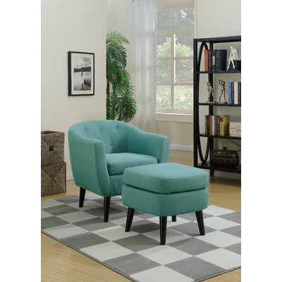 Fosbury Barrel Chair and Ottoman Upholstery: Light Blue