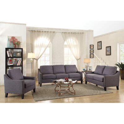 Bracken 3 Piece Living Room Set Upholstery: Gray