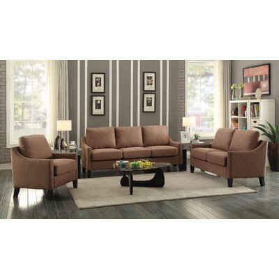 Bracken 3 Piece Living Room Set Upholstery: Brown Linen