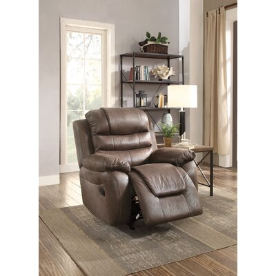 Timmerman Manual Glider Recliner Upholstery: Dark Coffee
