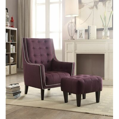 Melendez Armchair and Ottoman Upholstery: Purple