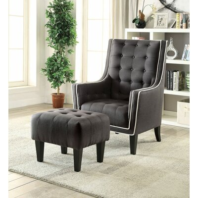 Melendez Armchair and Ottoman Upholstery: Black