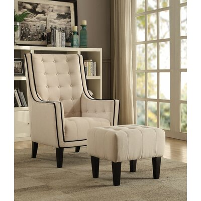 Melendez Armchair and Ottoman Upholstery: Cream
