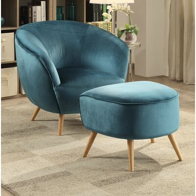 Brenna Armchair and Ottoman Upholstery: Teal