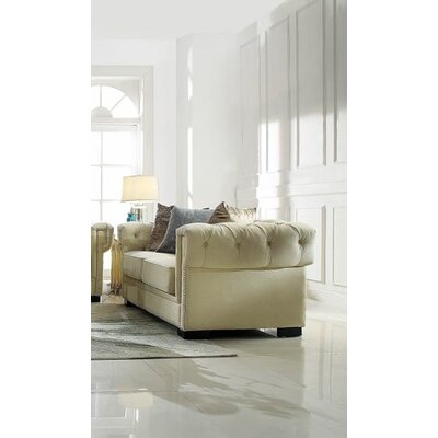 Crowborough Loveseat Upholstery: Cream Polished Velvet