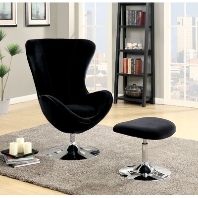 Ravenscourt Swivel Lounge Chair and Ottoman Upholstery: Black