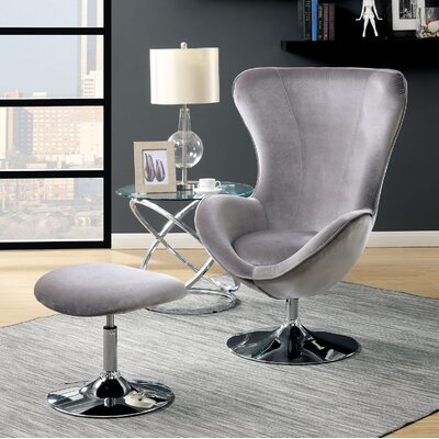 Ravenscourt Swivel Lounge Chair and Ottoman Upholstery: Gray