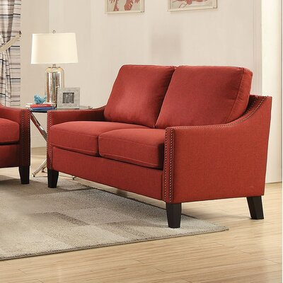 Bracken Loveseat Upholstery: Red