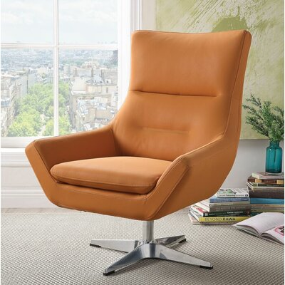 Winningham Swivel Wingback Chair Upholstery: Orange