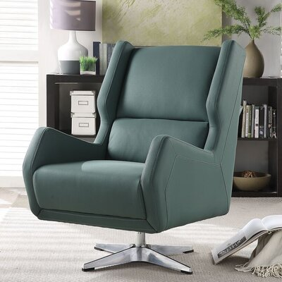 Winningham Swivel Wingback Chair Upholstery: Green