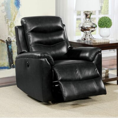 Tincher Motion Genuine Leather Power Recliner Upholstery: Black