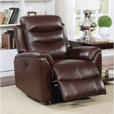 Tincher Motion Genuine Leather Power Recliner Upholstery: Brown