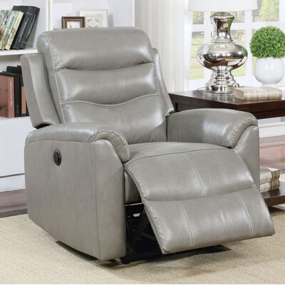 Tincher Motion Genuine Leather Power Recliner Upholstery: Gray