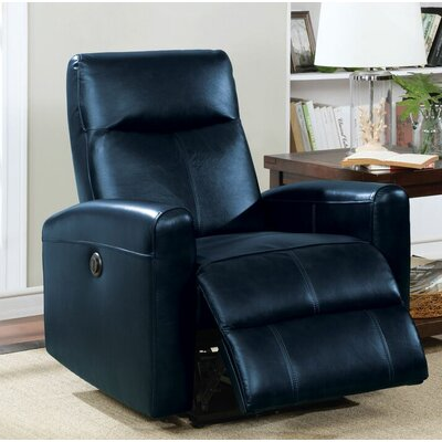 Tindal Motion Genuine Leather Power Recliner Upholstery: Navy Blue