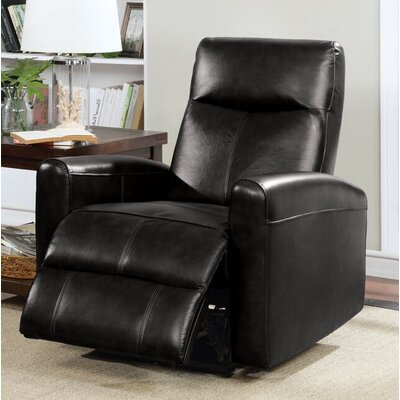 Tindal Motion Genuine Leather Power Recliner Upholstery: Black