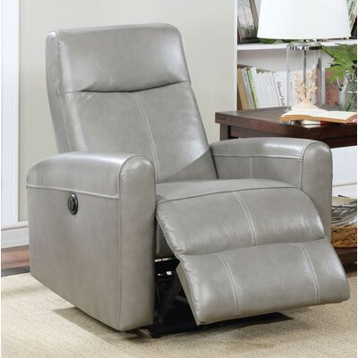 Tindal Motion Genuine Leather Power Recliner Upholstery: Gray