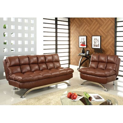 Javier Futon 2 Piece Living Room Set Upholstery: Saddle Brown
