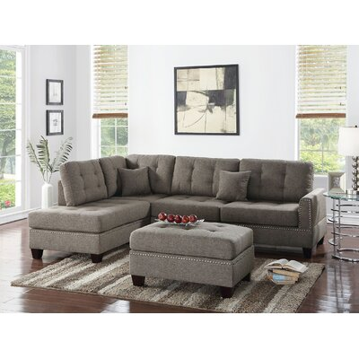 Whitner 3 Piece Sectional with Ottoman Upholstery: Coffee