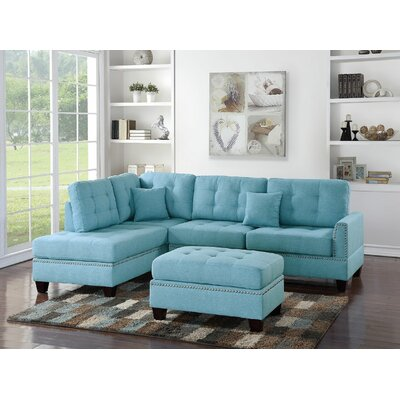 Whitner 3 Piece Sectional with Ottoman Upholstery: Blue