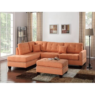 Whitner 3 Piece Sectional with Ottoman Upholstery: Citrus