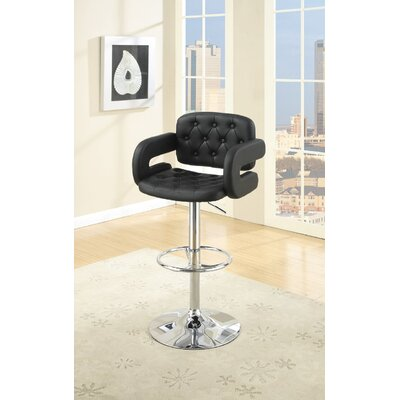 Boudreaux Adjustable Height Swivel Bar Stool Upholstery: Black