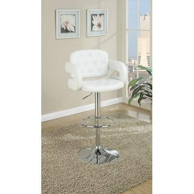 Boudreaux Adjustable Height Swivel Bar Stool Upholstery: White