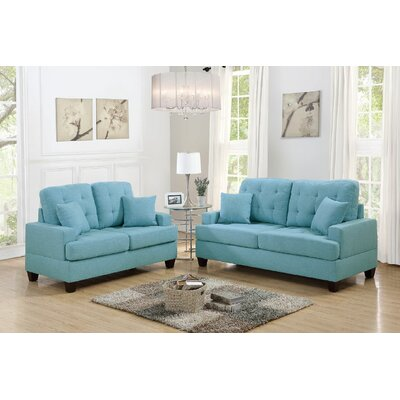 Woolridge 2 Piece Living Room Set Color: Blue