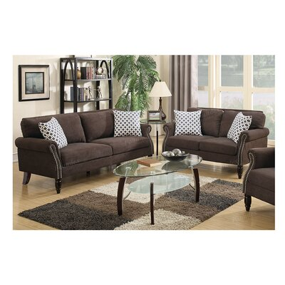 Haldeman 2 Piece Living Room Set Color: Dark Brown