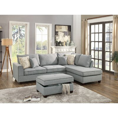 John Reversible Sectional with Ottoman Color: Light Gray