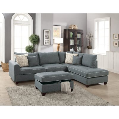 John Reversible Sectional with Ottoman Color: Steel