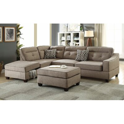 Filler 2 Piece Sectional Set with Ottoman Color: Mocha