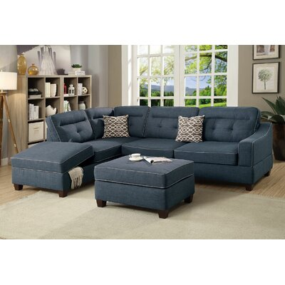 Filler 2 Piece Sectional Set with Ottoman Color: Dark Blue