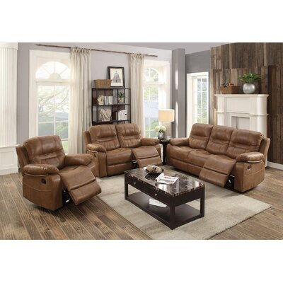 Summerall Motion 3 Piece Living Room Set Upholstery: Dark Brown