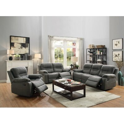 Summerall Motion 3 Piece Living Room Set Upholstery: Slate Blue