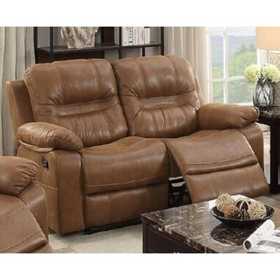 Summerall Motion Reclining Loveseat Upholstery: Dark Brown