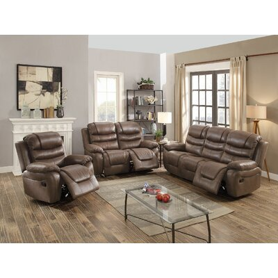 Sumpter Motion 3 Piece Living Room Set Upholstery: Dark Coffee